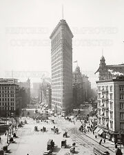 Two 16 x 20 inch photo prints NY Flatiron Building construction 1902 Broadway