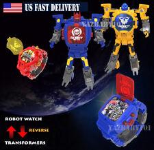 Children Transformers Toy Figure Robots Transform Digital watch Band Reverse