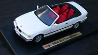 Maisto 1:18 1993 White BMW 325i E36 Coupe Convertible Cabrio Red Interior Car