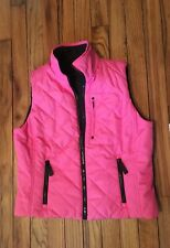 Ralph Lauren Womens Vest Petite Small Pink Black Reversible Quilted 6 Pockets
