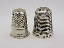 More details for 2x antique sterling silver thimbles. 1 english 1 french.