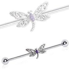 Surgical Steel Scaffold Bar + Ornate Dragonfly ~ Industrial Piercing