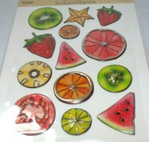 13pc Puffy Shiny Food Fruit Berry Stickers Craft Crafting Scrapbooking Orange