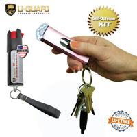 Pink Stun Gun Pepper Spray Pocket Self Defense Kit USB Electric Shock Device