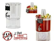 Party Top New Beverage Water Juice Dispenser Container 1.75 Gallon Clear 9x9x15