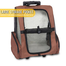 New listing Rolling Backpack Pet Carrier Dog Cat Travel Trolley Luggage w/ Cushion Brown