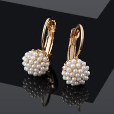 Fashion Elegant Pearl Beads Ear Hoop Dangle Earrings Women Lady Jewelry Gift