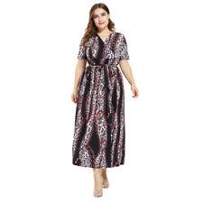 Women Plus Size Leopard Long Dress Beach Kaftan Sundress Boho Summer Party Gowns