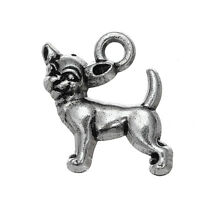 30Pcs Chihuahua Wholesale Dog Charms Silver Puppy Pendants Animal Jewelry Making