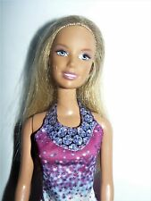 Mattel 2000s blond bended knee Barbie Doll in printed fuschia dress & shoes