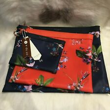 Ted Baker Astro Tropical Oasis 3 Nylon Pouches Set Bag Clutch