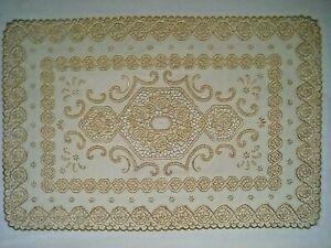 Fancy Decorative Gold and Cream Fine Lace Vinyl Table Centre Piece 30 x 45cm