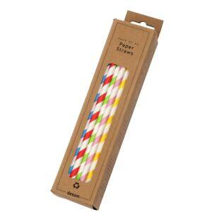 Dexam Paper Striped Straws; Pack of 50