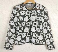 Joseph Ribkoff Womens Size 10 Floral Black White Sheer Zip Jacket