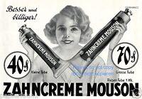Zahnpasta Mouson Reklame v. 1928 Weber Brauns lächeln Zähne Zahnarzt Locken (KI)