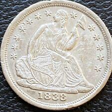 1838 Seated Liberty Half Dime 5c High Grade AU - UNC #24477