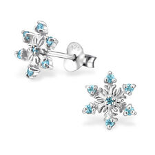 925 Sterling Silver Snowflake With Cubic Zirconias Kids Girl Women Stud Earrings