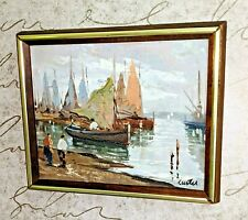 Original Oil Painting Small Asian Sail Boat Canvas Mid Century Framed Curtis