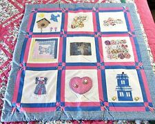 """Baby Crib Blue w/Pink Nine Patch Quilt Cover or Wall Hanging 35"""" Sq"""