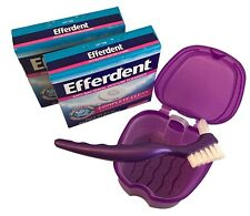 Denture Case with Basket, Brush and 2 Months Cleaner Efferdent Complete Klt Dent