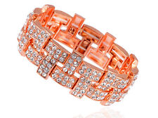 Rose Gold Tone Alloy Crystal Rhinestone Embellished Solid Bangle Bracelet Cuff