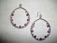 Purple varigated agate and silver beads hand made hoop earrings #071