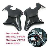 Black Plastic Front Neck Side Frame Guard Cover For Honda Shadow VT400 VT750