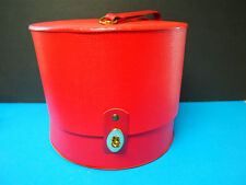 Everbest Vintage Red Hat/wig Box Round snap open carry on Luggage Travel Case