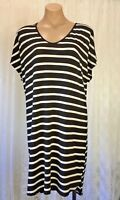 KATIE HOSKING SIZE M BLACK AND WHITE STRIPED DRESS MADE IN AUSTRALIA