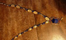 Vintage Egyptian Revival Gold and Lapis Enamel Scarab necklace Cloisart