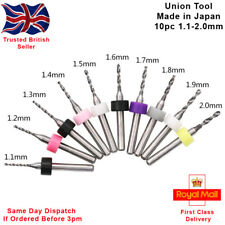 Union Tool 10pcs Micro PCB Carbide Twist Drill Bits Set. Made in Japan 1.1-2.0mm