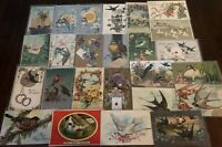 Pretty ~Lot of 25 Antique Greetings Postcards with *BIRDS~Bird-in sleeves-b488
