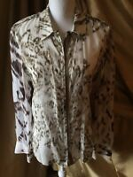 Elie Tahari See Though Animal Print Blouse Large Zipper Front Cuff W Buttons