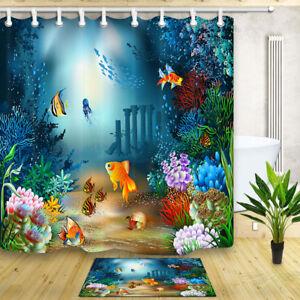 Fish Coral in Sea Waterproof Fabric & 12 Hooks Bathroom Shower Curtain Beautiful