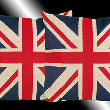 """2X NEW RED BLUE WHITE ENGLAND BRITISH FLAG THROW PILLOW CASES CUSHION COVERS 17"""""""