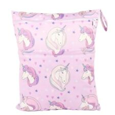 Wet Dry Bag Baby Cloth Diaper Nappy Bag Double Zippers Pocket Pink Unicorn