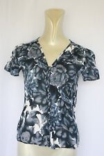 Woman's Blue/ White Floral Top - Harry - Size 8