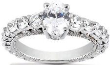 3.67 carat DIAMOND Engagement Ring 14k Gold Wedding Band, 2.10 ct Oval shape