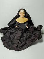 """Vintage 7"""" Hard Plastic Catholic Nun Sleepy Eyed Doll W Crucifix Blue Eyes Creep"""