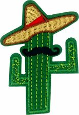 22175 Cactus with Mustache Sombrero Funny Cut Out Embroidered Sew Iron On Patch