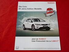 "HONDA Civic ""50 Jahre Edition"" Sondermodell Prospektblatt von 2010"