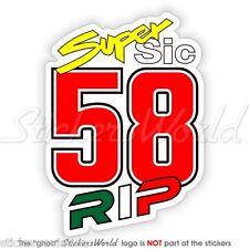 MARCO SIMONCELLI 58 Super Sic RIP 100mm Adesivo in Vinile, Decalcomania, Sticker
