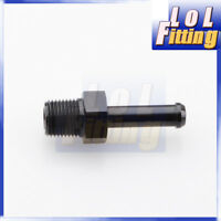 """1/8"""" NPT to 1/4"""" Barb End Straight Hose Fitting Adapter Aluminum Alloy Black"""
