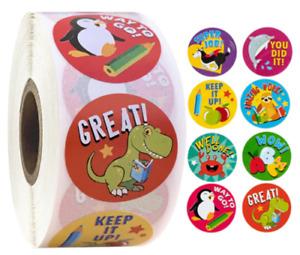 Reward Stickers Kids Labels Home School Teacher Chart Children Red Dinosaur 25mm