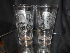 2015 STANLEY CUP CHAMPION CHICAGO BLACKHAWKS LOGO 2 ETCHED 16 OUNCE PUB GLASSES