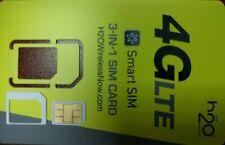 H2O H20 3in1 SIM CARD PREPAID, USE AT&T NETWORK TOWER, SMART SIM