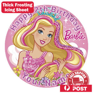 Barbie Edible Image Cake Topper Round Frosting Icing Party Decoration