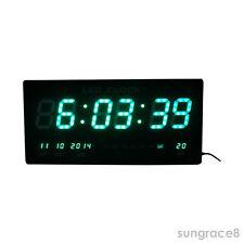 Vert LED Numérique Horloge murale avec Date Température Alarme montre sans tique