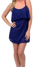 NWT $78 Betsey Johnson Navy Blue Floral Crochet Lace Tiered Swim Cover Up Dress