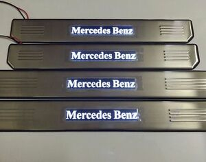 White LED Light Stainless Door Sill Scuff Plate For Mercedes-Benz W210 W211 W212